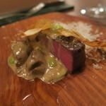 73609655 - 29年9月 短角牛炭火焼 ポルチーニ、枝豆、根セロリチップ、パルメジャーノチーズ