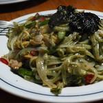 関谷スパゲティ - 青海苔生麺のあさりと夏野菜のスパゲッティ