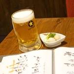 焼鳥 よつ葉 - 2017年8月 生ビール【480円】