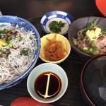 73623595 - 釜揚げしらす丼と小鉢の鯵のタタキ