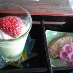 藍住茶房 - 甘鯛の桜葉柚庵焼き&抹茶プリン