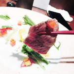 近江屋 - 近江牛の炙りユッケ(1,400円)
