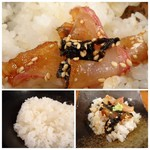 鯛茶や - ◆ご飯にそのまま乗せ、次に「出汁」をかけていただきました。 お茶碗が添えらていないので、小皿で代用。