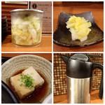 鯛茶や - ◆卓上に「白菜のお漬物」が置かれています。 ◆小鉢は「揚げ出し豆腐」◆出汁