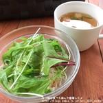 山辺スイーツカフェ - セットのサラダ&スープ