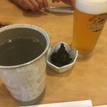 73736123 - 焼酎蕎麦湯わり&ビール小&そば味噌