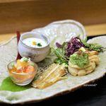 73743709 - アスパラの茶碗蒸し  筍とあいなめの卯の花  若狭のクサガレイ  本鱒、土佐酢のジュレ、えんどう豆