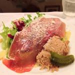 ポワソンルージュ - 前菜:生ハムとリエットのサラダ
