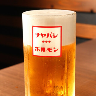 キンキンに冷えたジョッキで大き目の生ビール!!