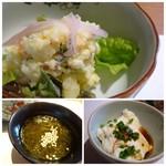 博多和食 いしくら - *ポテトサラダ・・マヨネーズは控えめで優しい味わい。 *もずく・・酢の塩梅がよく美味しい。 *くずし豆腐。