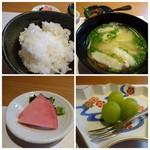 博多和食 いしくら - *ご飯は少な目ですが質の良い品。 *お味噌汁の味わいもいいですよ。 *デザート