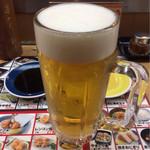 秋吉 - いつものビールといつものメニュー。