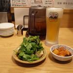 一風堂スタンド - 2017.9 パクチー水餃子とカクテキ