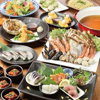 『海鮮蟹鍋or国産牛のすき焼きコース』