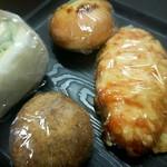 スタンダードベーカリー ヨーイドン - 料理写真:上から右回りで ●マヨパン ●明太子チーズ ●きなこ揚げパン ●チキンサンド