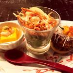 工藤 - 桜海老のサラダ&雲丹豆腐の蟹あんかけ&雲丹のクリームコロッケ(山葵タルタル)
