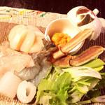 海鮮料理 雲丹しゃぶしゃぶ 工藤 - 雲丹しゃぶ具材
