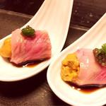 海鮮料理 雲丹しゃぶしゃぶ 工藤 - 神戸牛うにまき キャビア添え