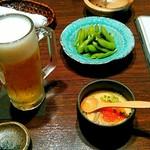 手作り料理と地酒 おと - 生ビール、枝豆、茶碗蒸し