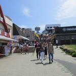 越前がに やまに水産 - 東尋坊に続く道は両サイドに観光商店街と東尋坊タワーの入口