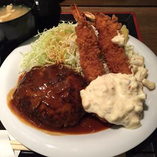 グリル ロン 阪急三番街店 - ハンバーグ&海老フライ