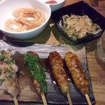 食堂ひな - おろしポン酢、梅しそ、タレ、チーズ・・・・。つくね最高☆