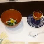 割烹 久木田 - 菊菜のおひたしと筋子の醤油漬け