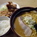 麺や 虎鉄 - 熟成あら味噌ラーメン+ザンギ3コ定食1120円税込