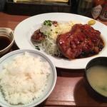 大阪トンテキ - トントンセット(トンテキ大に変更)