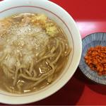 千里眼 - ラーメン 麺160g ヤサイ抜きアブラちょっと・ニンニク・ショウガ ・カラアゲ別皿で 730円