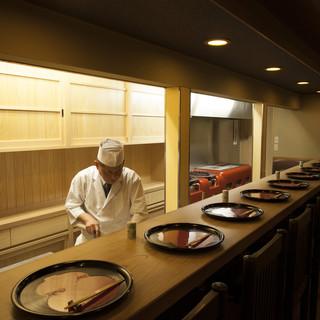 【カウンター席】料理人の華麗な技を目の前に本物の京料理を味わう