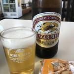 長崎ちゃんぽん・皿うどんの店 ながやん - 柿ピーのサービスが付いて450円のビール(2017.9.29)