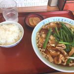 尾道ラーメン山長 - お昼のサービス定食の尾道ラーメンとめし(900円)
