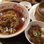 魏飯吉堂 - 京都黒一味ネギそばランチ ルーロー飯付き  焼売は別です