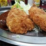 レストラン ポパイ - 横からNO14の「豚ヒレカツ+カニクリームコロッケ+ハンバーグ」