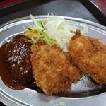レストラン ポパイ - 上空からNO14の「豚ヒレカツ+カニクリームコロッケ+ハンバーグ」