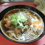 六文そば - ゲソ+生卵(350円)