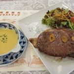 レストラン藤屋 - 【ステーキ ドーン! 4200円】(サラダ・スープ・コーヒー付き)