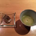 旧かつえ - 鶏スープとカマスのお寿司