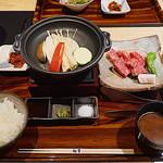 すき焼き 牛しゃぶ 松重 - ステーキ膳・国産牛100g(1680円)