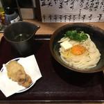 73960684 - 釜玉・バター(中)+鶏天('17/09/30)