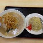 たら福 - 料理写真:ネギ味噌ラーメン&半チャーハン