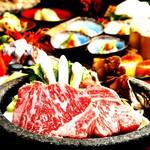 極コース⇒日本三大和牛『米沢牛』×贅味覚『鮑と鱧の水煙蒸し』〆は大トロ寿司