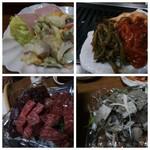 73974601 - サラダとキムチ、お肉たち。