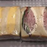 ワズ サンドイッチ - 煮たまごサンド、浅漬きゅうりとハムチーズサンド