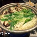 とりまぶし - 「博多水炊き」野菜を投入したところ。
