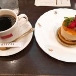 泉のテラス - ケーキセット(タルトシブースト・ホットコーヒー)880円