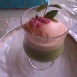 7401114 - 抹茶パンナコッタ(さくらアイスのせ)