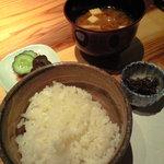 旬魚旬菜 むらおか - 【三段弁当】ご飯とみそ汁