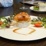 俺のフレンチ 博多 - 蟹・トマト・焼き茄子のタルタル仕立て